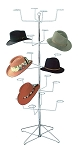 20 Hat Floor Display Rack For Light Duty Retail Merchandising On 5 Rotating Tiers