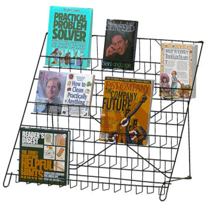6 Shelf Wire Book Display In Black