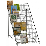 Open 10 Shelf Wire Floor Literature Display Rack