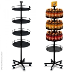 Heavyweight Floor Display Stand with 4 Round Metal Trays (5-Leg Caster Base)
