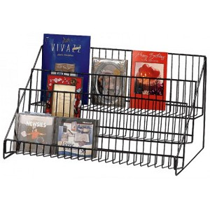 Three Step Wire Countertop Display Shelf in Black