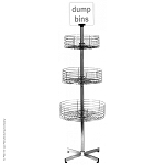 3 Basket Revolving Dump Bin Floor Display Rack Retail Display