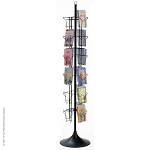 24-Pocket Floor Greeting Card Display Spinner Rack (Black)