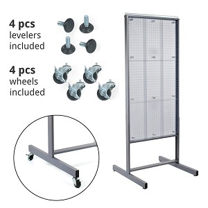 "80 Pocket, Two-Sided 24""W x 48""H Pegboard Brochure Floor Display Wheels"